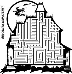 Printable Halloween Maze Coloring Pages Coloring