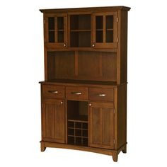 @Overstock - Update your home decor with this brown wood hutch buffet. Its modern style and warmth will instantly enhance any home. This buffet features a beautiful cherry finish, adjustable shelving, two cabinet doors, and three utility drawers.http://www.overstock.com/Home-Garden/Medium-Cherry-Hutch-Buffet-with-Wood-Top/6548446/product.html?CID=214117 EUR              623.49