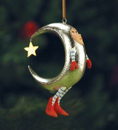 """Krinkles """"Mini Silver Moon Ornament"""" by Patience Brewster - NIB Whimsical Christmas, Christmas Art, Christmas And New Year, All Things Christmas, Christmas Holidays, Christmas Tree Ornaments, Christmas Decorations, Biscuit, Paperclay"""