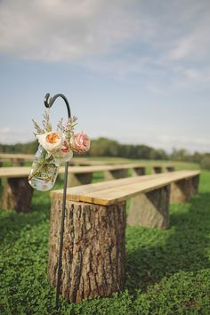 Harry + Michelle - Brooke Courtney Photography / / blush + nude wedding inspiration / wedding details / ceremony / seating / wood bench / aisle post / flower / jar /
