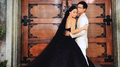 TV Bride's Black Wedding Gown Might Make You Rethink Traditional White Black Wedding Gowns, Gothic Wedding, Dream Wedding Dresses, Purple Wedding, Bridal Dresses, Fantasy Wedding, Elegant Wedding, Wedding Colors, Miranda Kerr