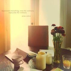 """appreciate everything, even the ordinary. especially the ordinary."" - pema chodron ---- www.warmpears.com"