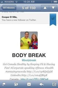 Thanks for the follow Hal Johnson and Joanne Mccloud!! Haahaha awesome @bodybreak Keep Fit, Have Fun, Thankful, Awesome, Health, Fitness, Stay Fit, Health Care, Be Awesome