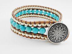 Turquoise leather cuff bracelet chan luu style 3 row bohemian southwestern leather bracelet. $44.95, via Etsy.