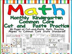 Kindergarten Celebration: Monthly Kindergarten Common Core Cut and Paste Practice SAMPLER :)