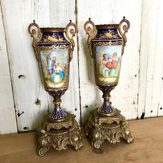 Sevres Urn Vase Lamps Signed LaFranc France, Pair Mounted Cobalt Blue and Bronze Sevres Style Vases, Converted Lamps, Blue and Gold Sevres by on Etsy Porcelain, Porcelain Figurines, Vase, Urn, Vase Lamp, Porcelain Vase, Vintage Art Glass, Porcelain Decor, Sevres Urn