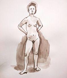 Un #desnudo de la semana pasada. Me encanta cómo posa natural esta modelo. Eine #Aktzeichnung von letzter Woche. Ich mag wie natürlich sind die Pose dieser Model. . #Akt #nudedrawing #sepia #monochromeart #watercolor #watercolouronpaper #femalenude #artstagram #artforsale #nudesketch #figuredrawing #sketch #etsyde #Catilustre #ffm