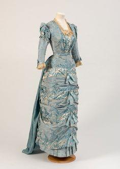 Circa 1881 Victorian Era Dresses, Victorian Gown, Victorian Fashion, Vintage Dresses, Vintage Outfits, Vintage Fashion, Blue Dresses, Victorian Ladies, Antique Clothing