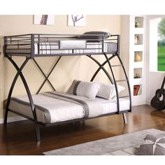 Metallic visuals are displayed brilliantly and are sure to stand out in any bedroom. The top bunk is securely guarded and sturdily supported by arching X-shaped legs while the attached ladder offers direct access up to the top bunk.
