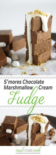 Dessert | Yummy S'mores Chocolate Marshmallow Cream Fudge...so easy you can make with your kiddos!