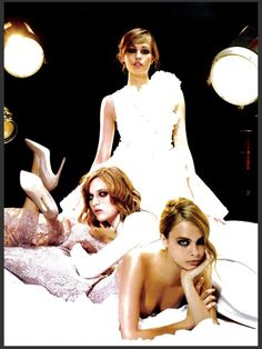 Heroines Couture: #NadjaBender #AshleighGood & #CaraDelevingne by #KarlLagerfeld for #Numero #146 September 2013