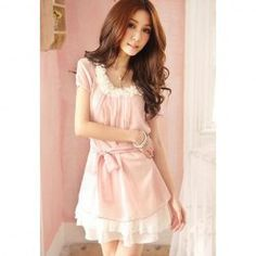 $7.31 Women's Chiffon Dress With Flower Embellished Short Sleeves Lacing Design
