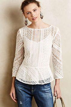 Love the vanessa virginia Ethene Lace Blouse on Wantering. White Lace Blouse, Lace Dress, Lace Peplum, Peplum Blouse, Bluse Outfit, Moda Formal, Estilo Fashion, Lace Tops, Fashion Outfits