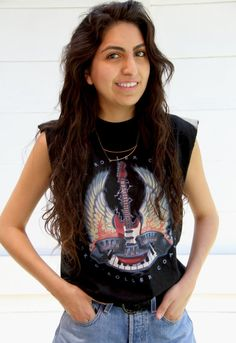496d48c82e1 Disney World Rock N Roll Muscle Tee Tank Electric Guitar Crop Top. Muscle  Tees