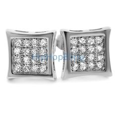 32 Stones Kite CZ Micro Pave Iced Out Earrings .925 Silver 06eaae2728e