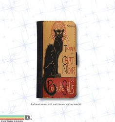 Chat Noir, Black Cat Leather Wallet Phone Case for iPhone 6, 6s and 6+ and 6+s, Leather case, Wallet Case, classic books
