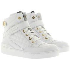 Moschino Hightop Sneaker White in white, Sneakers ($350) ❤ liked on Polyvore featuring shoes, white, leather high tops, high top leather shoes, flat shoes, leather shoes and genuine leather shoes
