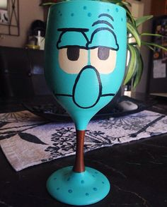 SpongeBob SquarePants Squidward inspired hand painted wine glass by kaylieskrafties