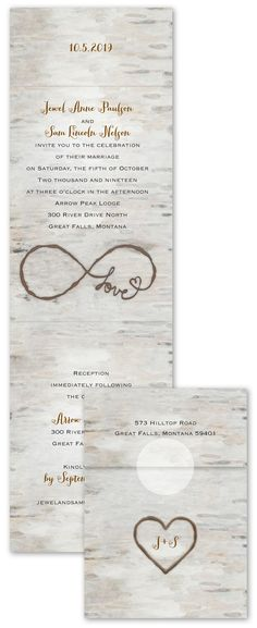 A birch background in charming watercolor creates these rustic woodland wedding invitations perfect for your nature-inspired wedding. The monogram heart on the outside front of these folding invitations and the infinity symbol inside appears as if burned into the birch background. So sweet and so affordable! From www.annsbridalbargains.com