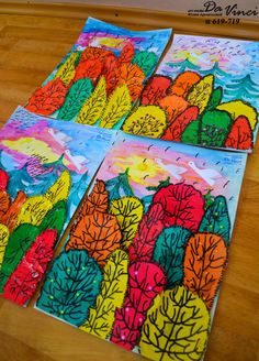 A favorite grade lesson. Remember the baskets? Took several classes but this batch is done! Artsonia inspiration from years ago. Art Education Lessons, Art Lessons For Kids, Art Lessons Elementary, Fall Art Projects, School Art Projects, Art School, Halloween Art Projects, Art 2nd Grade, Classe D'art