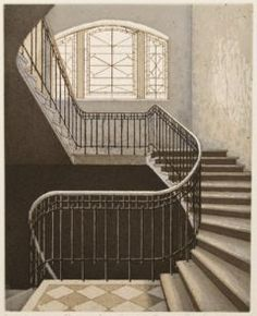 Etching by Luukanen Elina Modern Art, Contemporary Art, Hidden Places, Himmelblau, Stairway To Heaven, Stairways, Artsy Fartsy, Illustration Art, Illustrations