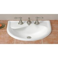Cheviot Calypso White Drop-In Semi-Circle Bathroom Sink With Overflow Drain - Modern Vintage Bathroom Sinks, Drop In Bathroom Sinks, Drop In Sink, Ideal Bathrooms, Cloakroom Sink, Undermount Bathroom Sink, Lavabo Vintage, His And Hers Sinks, How To Wash Vegetables