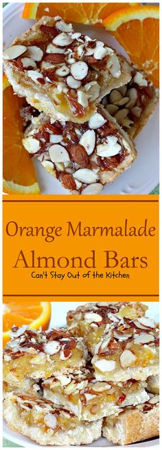 Orange Marmalade Almond Bars | Can't Stay Out of the Kitchen | these amazing bars have a shortbread crust, #orangemarmalade filling