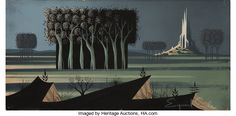 Animation Art:Production Drawing, Eyvind Earle Sleeping Beauty Animation Concept PaintingOriginal Art (Disney, 1959)....