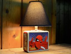 Vintage  Superhero Metal Lunch Box Lamp by TheIronRoots on Etsy