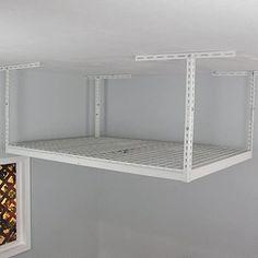 """Overhead Storage Rack Size: 21"""" H x 72"""" W x 48"""" D Ceiling Storage Rack, Overhead Storage Rack, Garage Storage Racks, Garage Storage Solutions, Storage Shelves, Storage Spaces, Storage Ideas, Storage Cabinets, Outdoor Storage"""