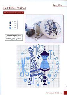 Eiffel tower Cross stitch pattern for box cover Cross Stitch House, Cross Stitch Kitchen, Mini Cross Stitch, Cross Stitch Needles, Cross Stitch Samplers, Cross Stitch Charts, Cross Stitch Designs, Cross Stitching, Cross Stitch Embroidery