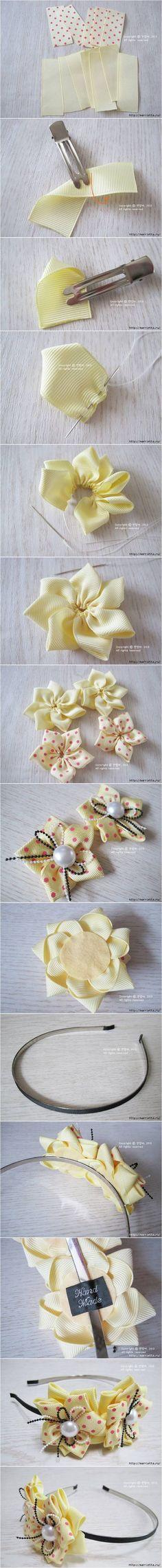 How to DIY Elegant Ribbon Flower Hairband #craft #ribbon #flower