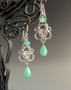 Aura Weave Chainmaille Earrings with by WolfstoneJewelry on Etsy; not fond of the stone color but otherwise look great