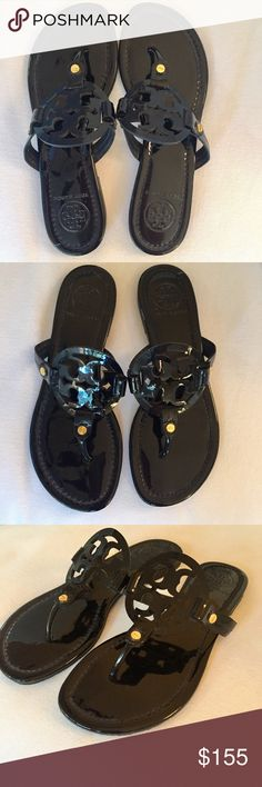a75347ece6d52f Tory Burch Black Patent Leather Miller Sandal Great every day sandal!  Patent leather with a