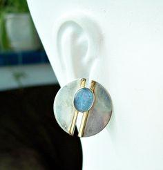 Vintage Modernist Opal Sterling Earrings Silver Gold Filled Earrings Signed PTP Mid Century Opal Earrings Unsual Earrings Artisan Earrings by Oldtreasuretrunk on Etsy