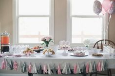 Pink and gray party table at an elephants and hearts baby shower party! See more party planning ideas at CatchMyParty.com!