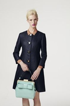 Orla Kiely Spring/Summer 2013 -Raffia Coat in Navy (Vogue.com UK)