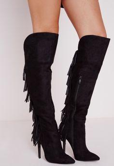 Fringe Back Heeled Boots Black