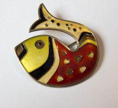 Vintage DAVID ANDERSEN Norway Sterling Vermeil Enamel Fish Brooch Pin