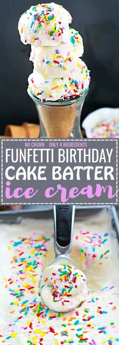 No Churn Cake Batter Ice Cream Funfettii - the easiest & creamiest birthday cake ice cream ever. With ONLY 4 ingredients and so simple to make. Best of all, NO ice cream maker and skip that stop to Cold Stone Creamery! The perfect summer treat for a birthday or any other occasion!