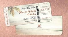 Rose Gold Boarding Pass Save the Dates Shimmer Font Lettering | Travel | idowithyou