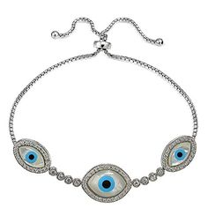 Best Bracelets For Women | Sterling Silver Cubic Zirconia  Mother of Pearl Evil Eye Adjustable Bracelet * Click image to review more details. Note:It is Affiliate Link to Amazon. #likeall