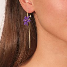 Handmade Gold Plated Silver Purple Flower Drop Earrings - Anthos Crafts Affordable Jewelry, Ring Earrings, Purple Flowers, Greece, Handmade Jewelry, Rose Gold, Gemstones, Orange Yellow, Bracelets