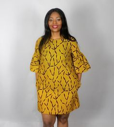 NOUVEAU dans: robe jaune africain imprimé à la par Nasbstitches