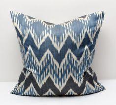 20x20 blue ikat pillow cover, cushion case, blue, indigo, ikats, blue pillows, blue ikats, indigo ikats, indigo pillows, wave, zig zag,