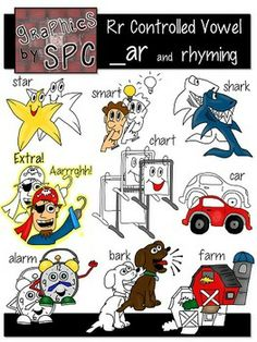 R Controlled Vowels Clip Art- _ar Spelling and Rhyming Clipart  Perfect for teaching Bossy Rr!  Graphics by SPC!