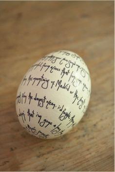 easter egg black & white - message