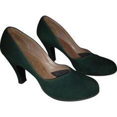 1940's Forest Green Suede Baby Doll Pumps from Aunties' Attic Antiques on RubyLane.com