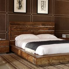 I repinned this reclaimed wood bed because of the sides and front. This makes for a very simple design that is clean, sort of contemporary, but yet has the classic old feel to it. Nice!
