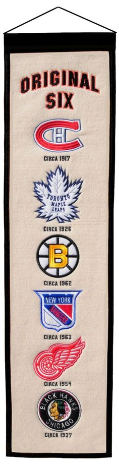 NHL Original Six Hockey Heritage BannerIndoor wool flag with history of Original Six team logosA uniquely hand-crafted, vintage style, wool banner featuring intricate embroidery and applique design detail. Rangers Hockey, Blackhawks Hockey, Hockey Teams, Hockey Players, Chicago Blackhawks, Hockey Goalie, Hockey Stuff, Sports Teams, Montreal Canadiens